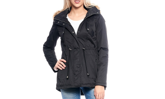 Women's Double-Closure Sherpa-Lined Fur Anorak Jacket