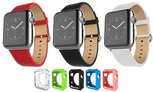 Waloo Apple Watch Leather Band and Gel Cases Set (6-Pack)