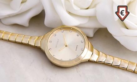 Jaques-Armbanduhr in Rhodium Farbe, Roségold oder Gold plattiert mit  Kristallen von Swarovski® verziert (75 % sparen*)