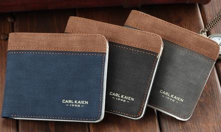 1 ou 2 portefeuilles homme en toile, 3 coloris au choix à 7,90 €