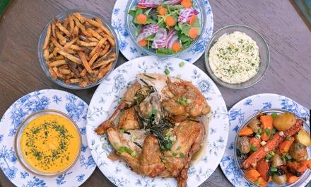 Demi-poulet ou poulet entier avec garnitures