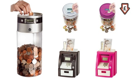 One or Two Digital Coin Counting Jars or ATM Banks