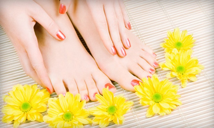 J Salon & Spa - Deerfield: $35 for a Shellac Manicure and Spa Pedicure at J Salon & Spa ($80 Value)