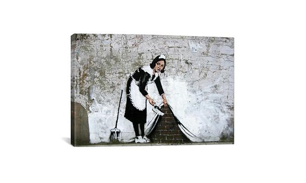 banksy prints  canvas groupon