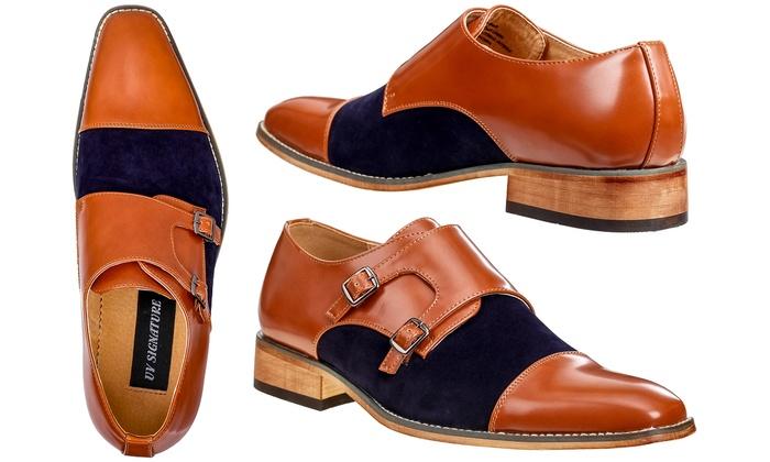 f074c4cf1c1 Signature Men's Two-Tone Monk-Strap Dress Shoes | Groupon