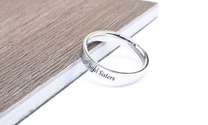 Pink Box Solid Stainless Steel Inspirational Ring