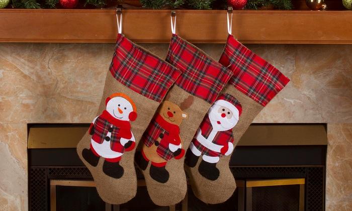 burlap or jute classic christmas stockings 3 pack - Classic Christmas Stockings