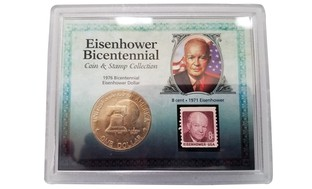 1976 Bicentennial Eisenhower Dollar Coin with Stamp