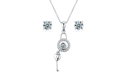 Sreema London Unlock Your Heart Sterling Silver Necklace and Earrings Set