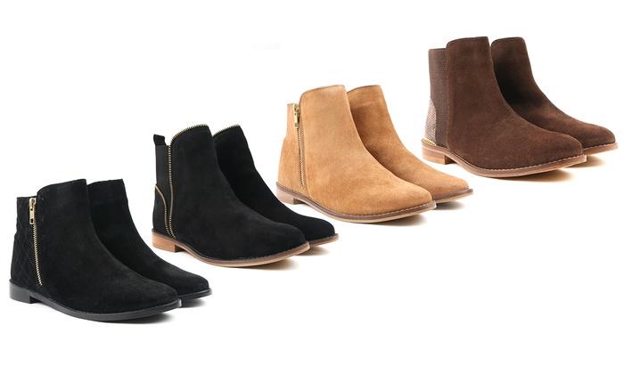 Groupon Goods Global GmbH: Bottes plates pour femme Carlton en cuir véritable et en daim