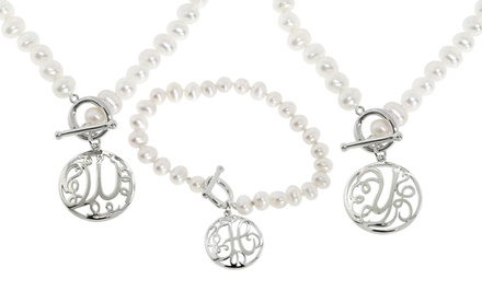 Genuine Pearl Bracelet or Necklace with Silver Monogram Initial. Multiple Options from $24.99–$29.99. Free Returns.