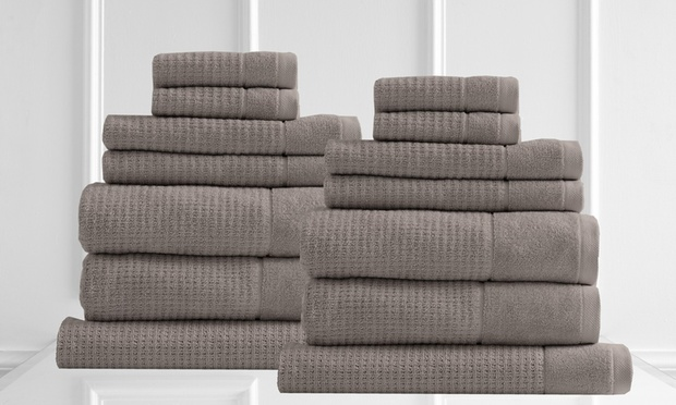 Free Shipping: Cambridge Egyptian Cotton Waffle Towel Set: 7 Piece ($45) or 14 Piece ($75) (Dont Pay Up to $300)