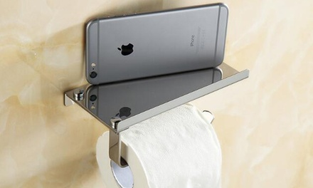 One or Two Stainless Steel Toilet Paper and Phone Holders