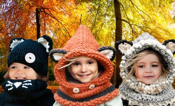Animal Hat and Scarf Set