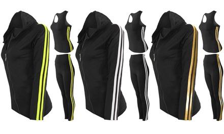 Three-Piece Contrast Stripe Activewear Set