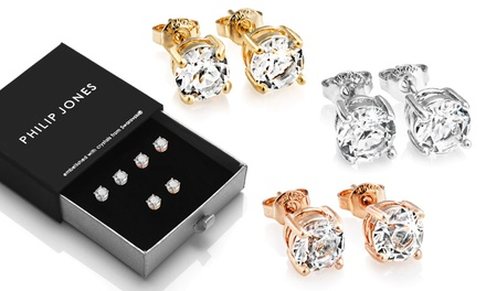 One, Two or Three Philip Jones Elements Stud Earrings with Crystals from Swarovski®