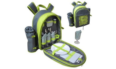 Vivo Four-Person Picnic Backpack with Blanket and Cutlery