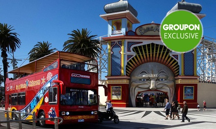 Open Top DoubleDecker Bus Tour Child $12 or Family Pass $45 with City Sightseeing Melbourne Up to $90 Value