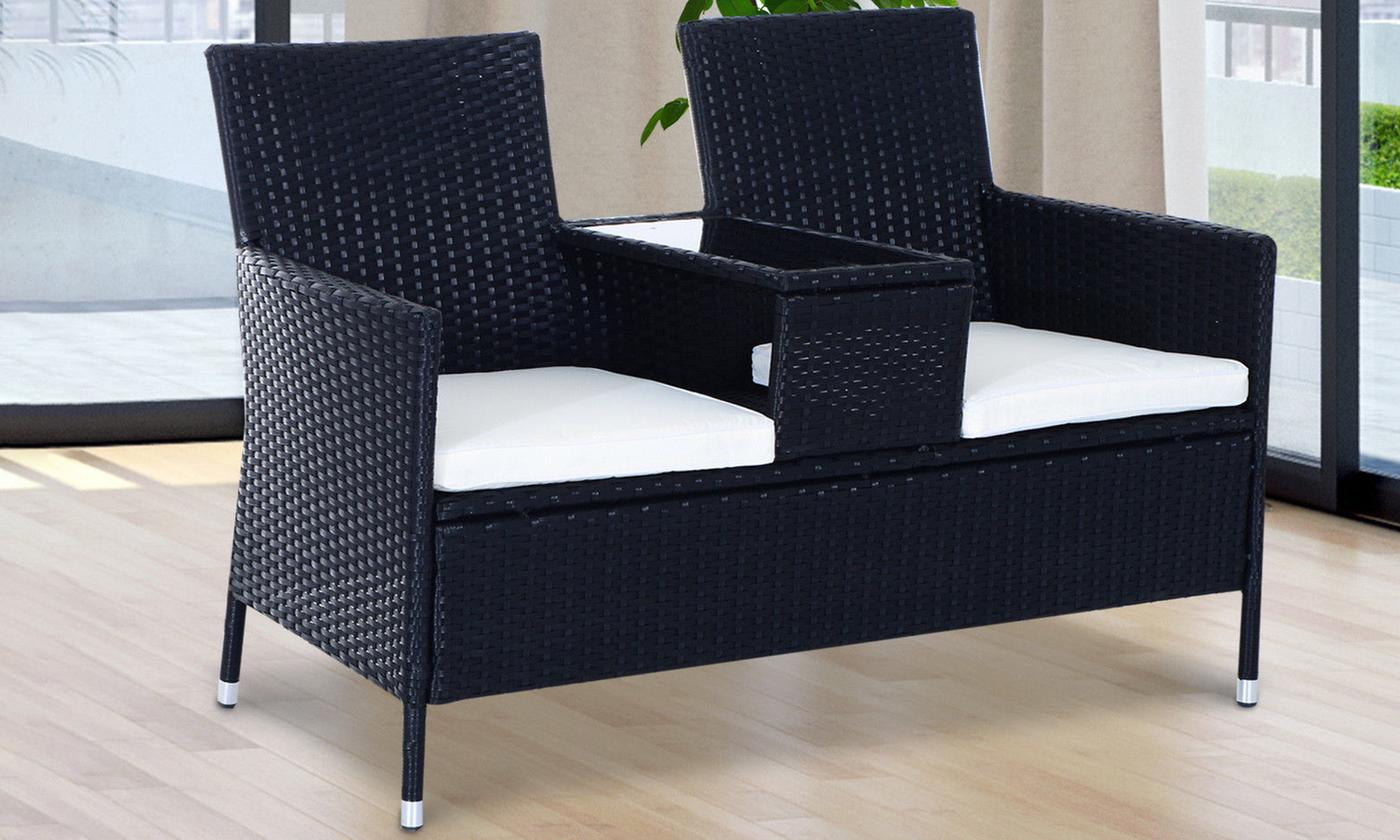 Outsunny Two-Seater Outdoor Rattan-Effect Companion Set (£99.98)
