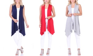 Women's Sleeveless Open Front Long Duster Cardigan