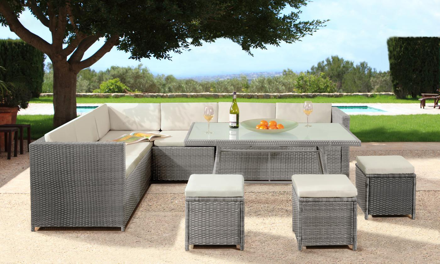 Mahe Nine-Seat Corner Rattan-Effect Garden Furniture Set in Choice of Colour with Optional Cover (£559.99)