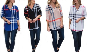 Reflection Women's Plaid Roll-Tab Blouse. Plus Sizes Available.