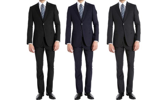 Braveman Men's Slim Fit Pinstripe Suits (2-Piece)