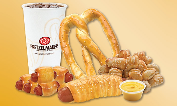 Pretzelmaker - Multiple Locations: $9 for Three Groupons, Each Good for $5 Worth of Pretzel Items and Drinks at Pretzelmaker ($15 Value)
