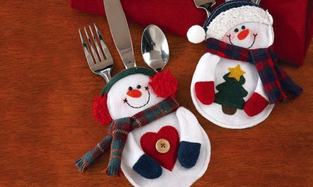 Up to 16 Packs of Snowman Cutlery Holder Socks