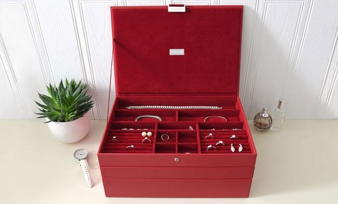 Schmuck-Box Stackers Supersize mit 3 Schubladen in Rot oder Violett