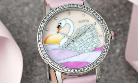 Reloj de nácar con pulsera de piel Bertha