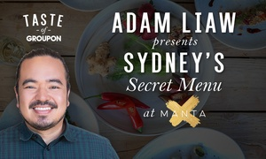 Manta Restaurant and Bar: Adam Liaw's Exclusive Secret Menu - Manta Restaurant & Bar: Waterfront 4 Courses + Glass of Chandon for Two ($130)