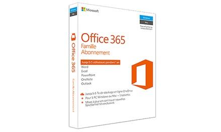 Microsoft Office 365 Famille, 5 utilisateurs, abonnement d'un an, à 64,99 € de réduction