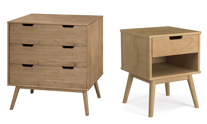 chevet et commode pin massif cir groupon shopping. Black Bedroom Furniture Sets. Home Design Ideas