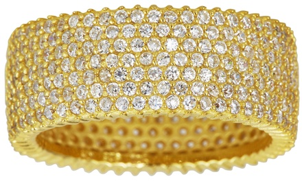 Micro Pavé Cubic Zirconia Eternity Band in 18K Yellow Gold Plated Sterling Silver