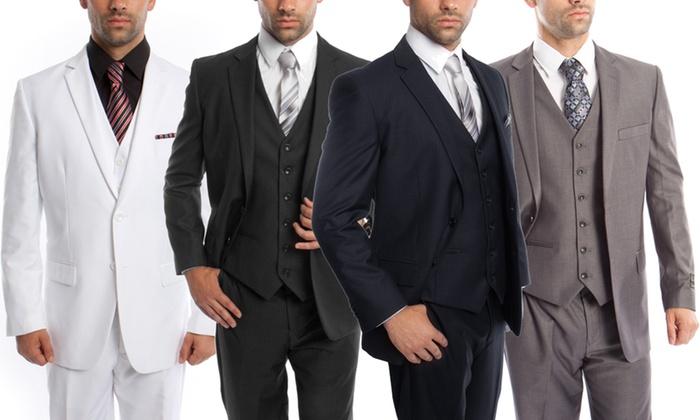b4ee12f0a3915f Up To 56% Off on Men's Modern-Fit Suit (3-Piece) | Groupon Goods