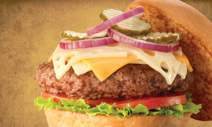 Fuddruckers - Asheville: Hamburger Dinner for Two with 1/3-Pound Burgers, Fries, and Drinks at Fuddruckers (53% Off)