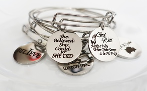 Pink Box Stainless Steel Inspirational Bangles