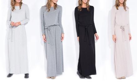 Langes, gegürtetes Kleid Julia in der Farbe nach Wahl (66% sparen*)