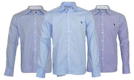 U.S. Polo Assn Herren Hemd aus 100% Baumwolle mit langen Ärmeln und Knopfleiste in der Farbe und Größe nach Wahl