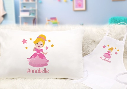 Singles and Sets of Personalized Kid's Pillowcases and Aprons (Up to 79% Off). Five Options Available.