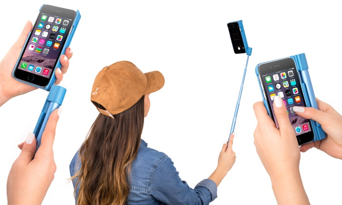 2 in 1 selfie stick phone case groupon goods. Black Bedroom Furniture Sets. Home Design Ideas