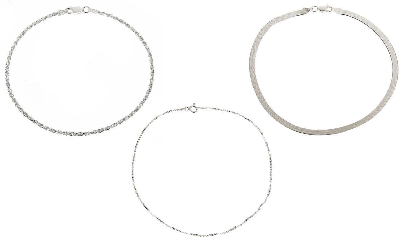 Italian Made Solid Sterling Silver Anklets by Verona (Multiple Styles Available)