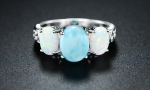 7 CTW Genuine Larimar and Fire Opal Three-Stone Ring