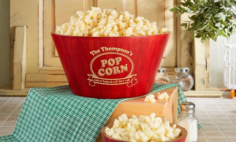 Popcorn Night Bamboo Personalized Serving Bowl from Personalization Mall