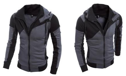 Herren-Jacke in Schwarz-Grau mit Kapuze in der Größe nach Wahl