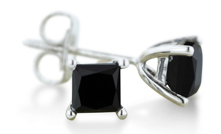 1 CTTW Black Diamond Stud Earrings in 14-Karat White Gold