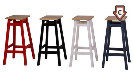 Set de 2 taburetes de pino macizo disponibles en varios colores