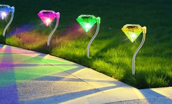 Color Changing LED Diamond Stake Solar Lights (4 or 8 Pack)