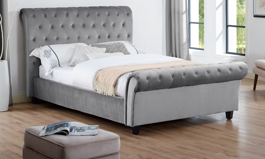 Cavandish Crushed Velvet Sleigh Bed with Optional Mattress